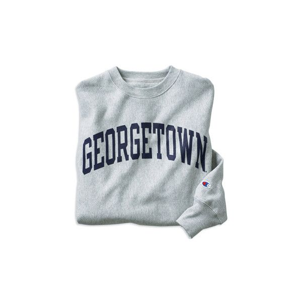 Georgetown Hoyas Champion® 9oz. Georgetown Crew Sweatshirt, Heather... ($30) ❤ liked on Polyvore featuring tops, hoodies, sweatshirts, sweaters, shirts, crew-neck shirts, crew neck top, heather gray shirt, heather grey shirt and crew shirt