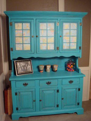 I used to have this same hutch in dark pine-- should have thought of painting it turquoise --love it