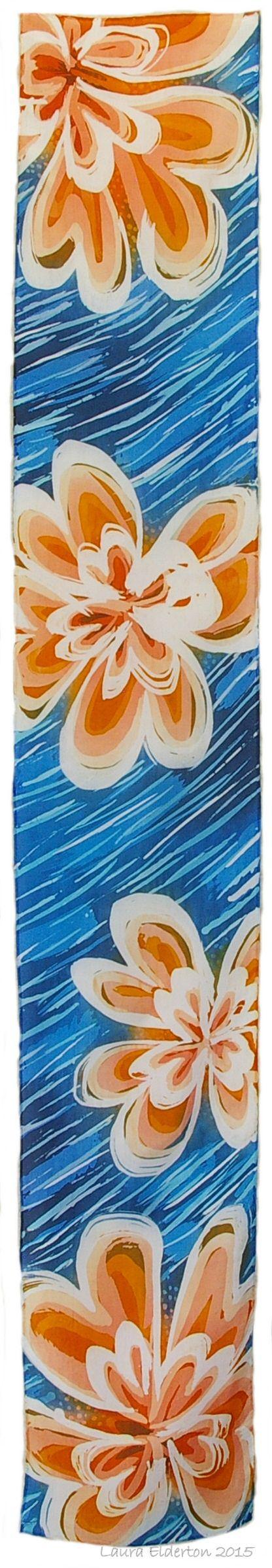 Orange Heart Flowers  - Valentines - Hand Dyed Silk Habotai Scarf by Laura Elderton www.etsy.com/shop/lauraelderton