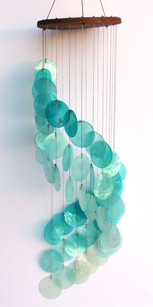 Turquoise Spiral Cascading Capiz Shell Chimes - Tropical Shell Wind Chimes - California Seashell Co
