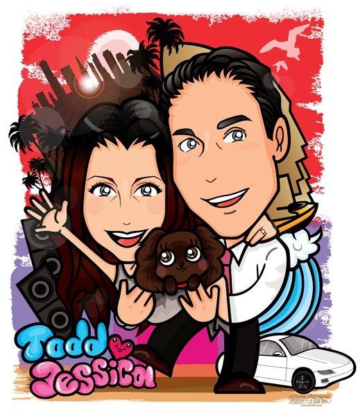 For Todd & Jessica in Miami / Digital Portrait - デジタル似顔絵   Happy Engaged!!