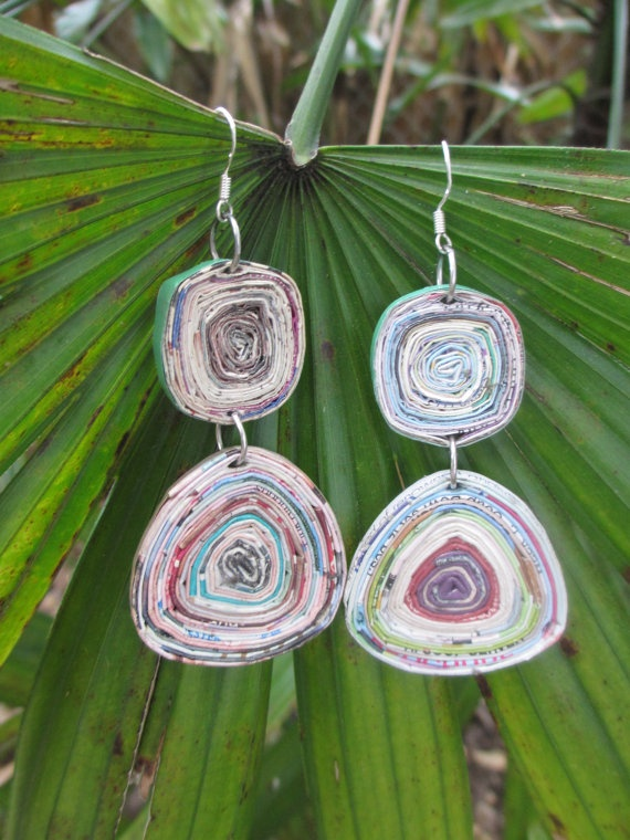 Recycled Magazine Paper Earrings