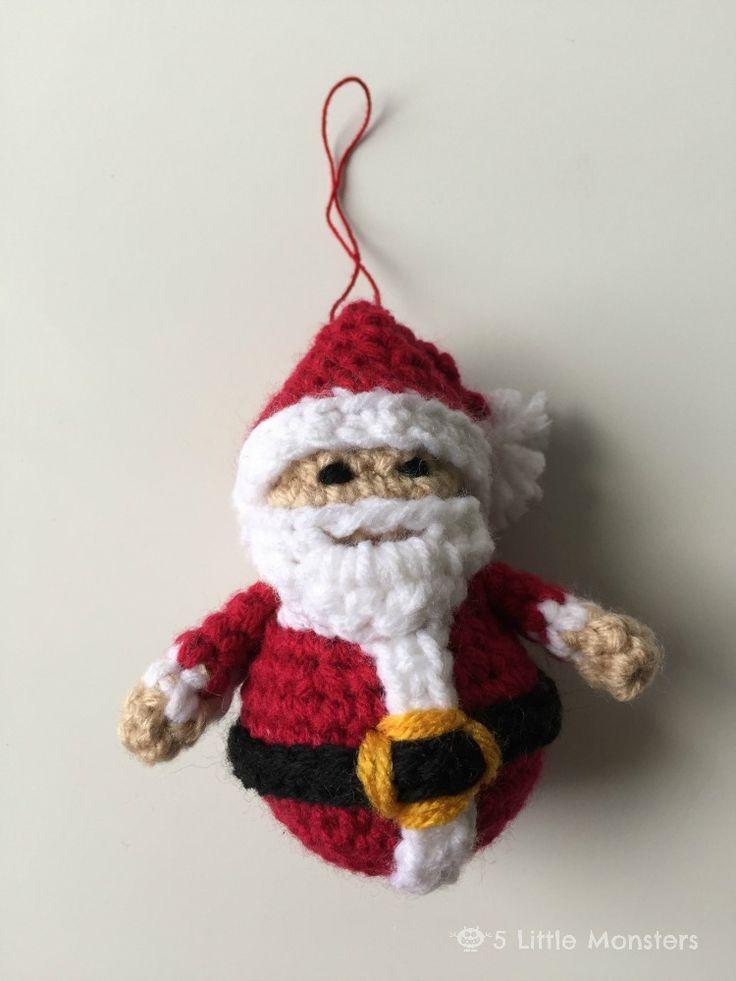 5 Little Monsters: Crocheted Santa Ornament