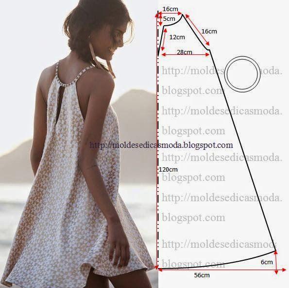 SEQUÊNCIA OPERATÓRIA DE CORTE 1. Corte um retângulo de tecido com a altura e largura que pretende para as costas e frentes.2. Dobre a meio o retângulo.3. Desenhe o decote com a largura e al