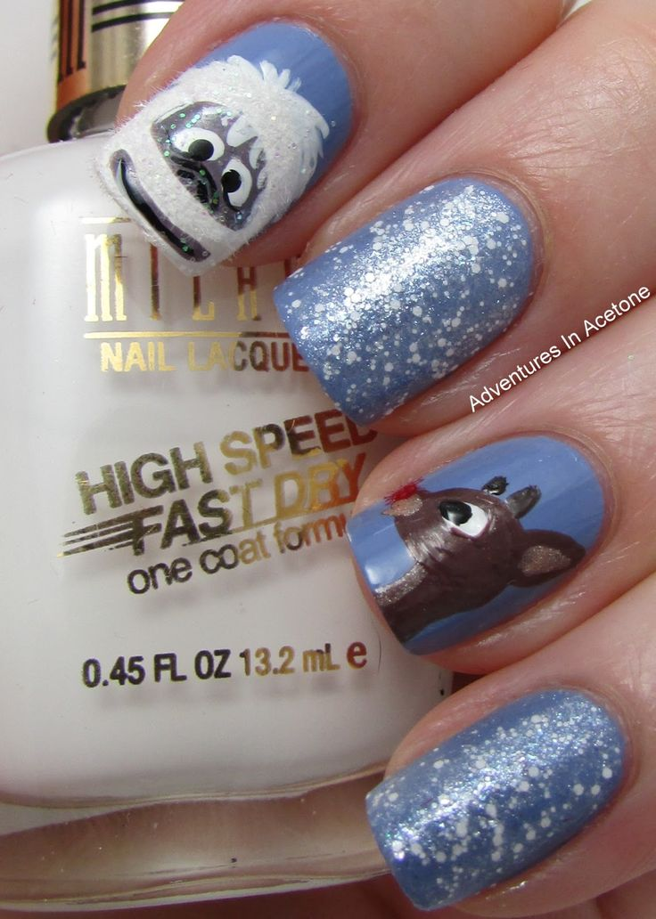 Rudolph + Abominable Snowman Nail Art So cute !