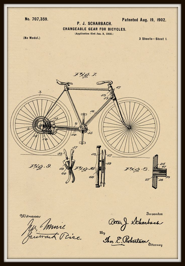 Changeable Gear for Bike Patent #707,359 dated August 9, 1902. by RandSpatentprints on Etsy