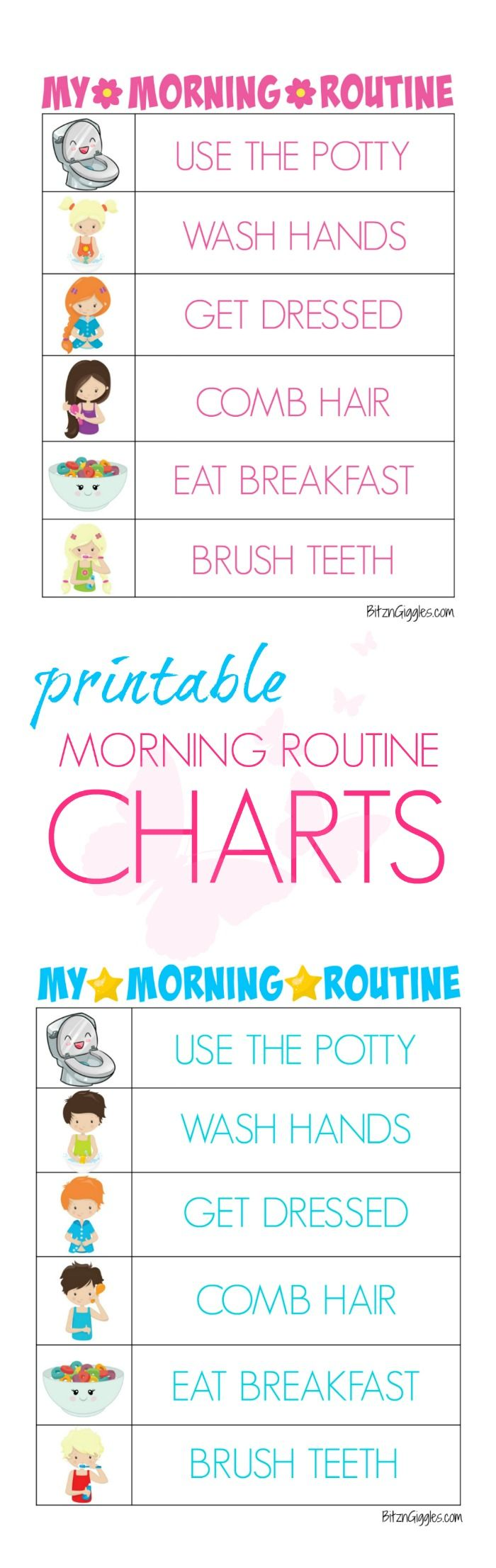Printable Morning Routine Charts - Free printable kids morning routine charts to help teach kids independence and provide guidance for their morning routine! Charts for boys and girls!