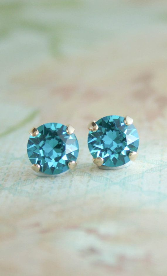 stud in birthstone lovely birth light cut plated shape jewelry blue swarovski crystals december make magic stone platinum tear round turquoise crystal