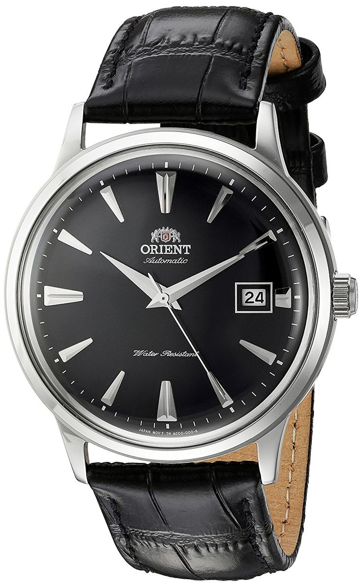Amazon.com: Orient Men's '2nd Gen. Bambino Ver. 1' Japanese Automatic Stainless Steel and Leather Dress Watch, Color:Black (Model: FAC00004B0): Watches