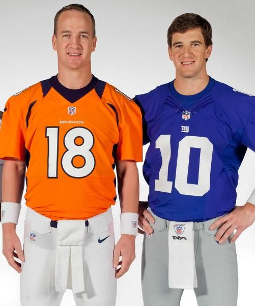 Denver Broncos quarterback Peyton Manning, and NY Giants quarterback Eli Manning