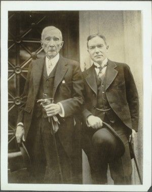 Gilded Age business magnate and philanthropist, John Davison Rockefeller Sr. (1839-1937). He, as co-founder of Standard Oil Company, actively ran the business from c.1870 to c.1897. Shown here with his son, John Rockefeller Jr., in NYC, c.1925. ~ {cwl} ~  (Original Image: Rockefeller Archive Center)