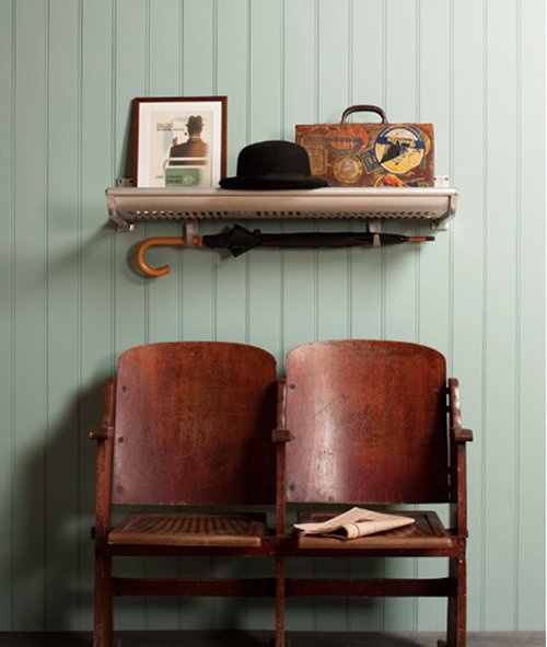 Luggage racks as shelves from the London Museum of Transport. Love the  vintage cinema chairs too - 27 Best Vintage Theater Seats Images On Pinterest 1920s, 1930s