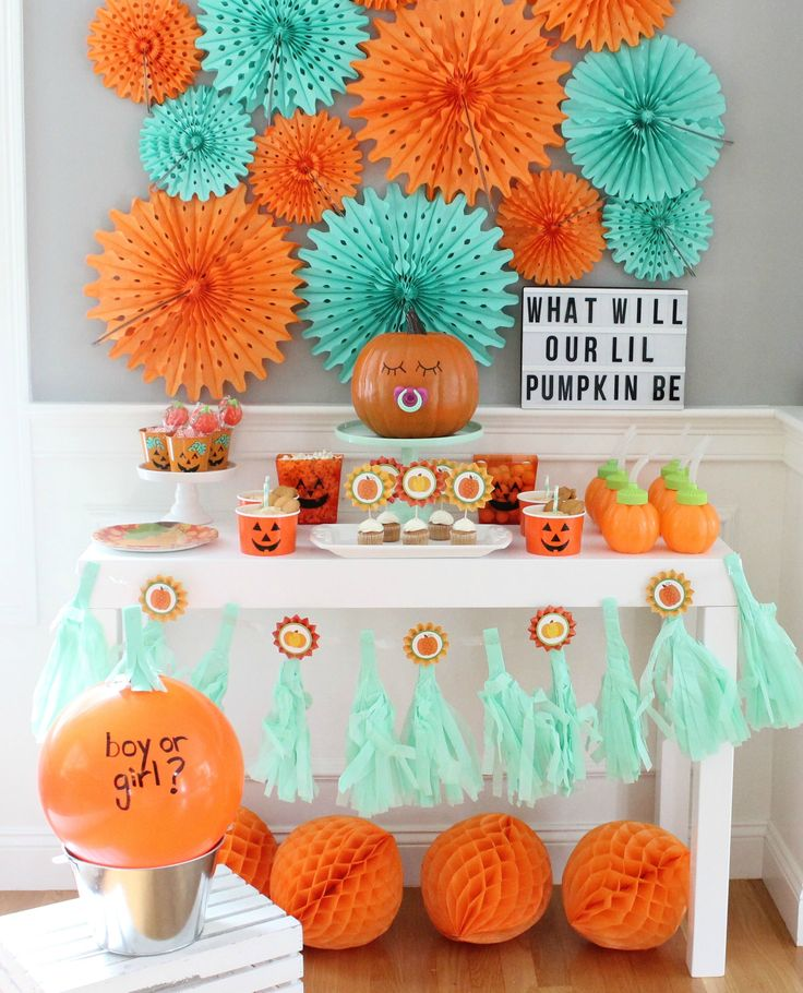 Little Pumpkin Gender Reveal baby shower.