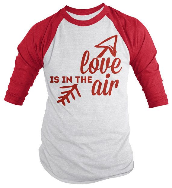 Valentineu0027s Day Baseball Tee Love In Air 3/4 Sleeve Raglan Shirt