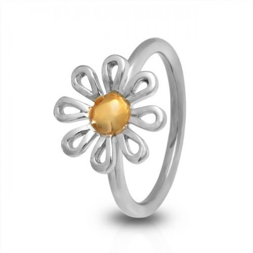 Two Tone Whimsical Sterling Silver Daisy Ring