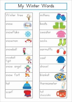 "Winter Vocabulary Word Wall. Includes a personal word wall for students, a file-folder word wall for the writing or word work center and large cards for the classroom wall in color and black and white. Also has several word wall worksheets. The large cards would be great from a ""Write the Room"" activity too!"