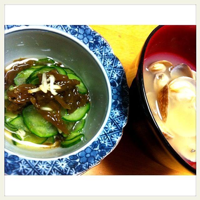 沖縄県久米島産天然太もずく。♪(´ε` ) - 49件のもぐもぐ - 太もずく酢とアサリの味噌汁♪(´ε` ) by もも