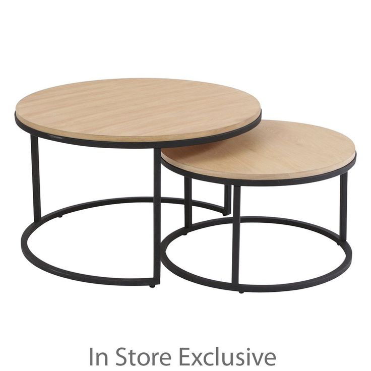 Add modern style to your living room with the Hamilton Nesting Table! Featuring black legs, a circular base and wooden table top, the smaller table nestles perfectly under the larger for a stylish, modern and functional lounge room coffee table feature.