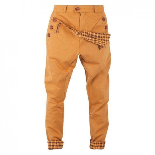 moda - spodnie -Madoxy musztardowe z kratą