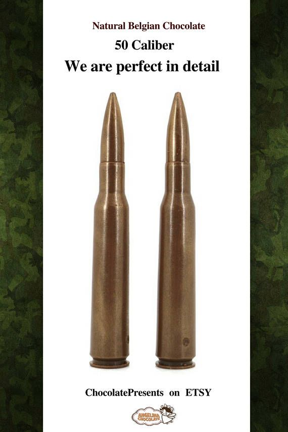 #Chocolate #Bullet #EdibleBullet #50BMGbullet   #50Caliber  #militarygift #militarylove #military #fathergift For #ballistic enthusiasts, we have one more offer.  A set of two cartridges, which, despite being made of chocolate, look very realistically.  Of course, their biggest advantage is the wonderful taste!  Net weight: 4.02oz/0.25lb/114 g Dimensions: 3.5 x 6.5 x 16.5 cm Type of Chocolate: MILK, DARK
