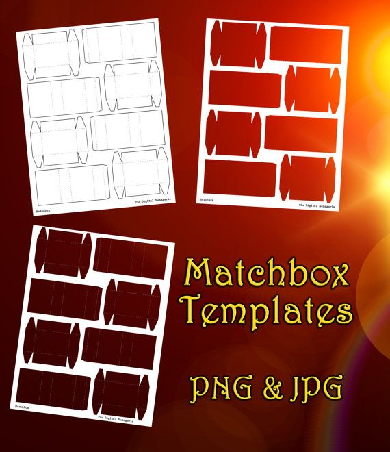Matchbox Template 8.5x11 sheet, PNG JPG Photoshop Gimp file, DIY blank match box wedding bachelor party favors tiny small slider gift cute