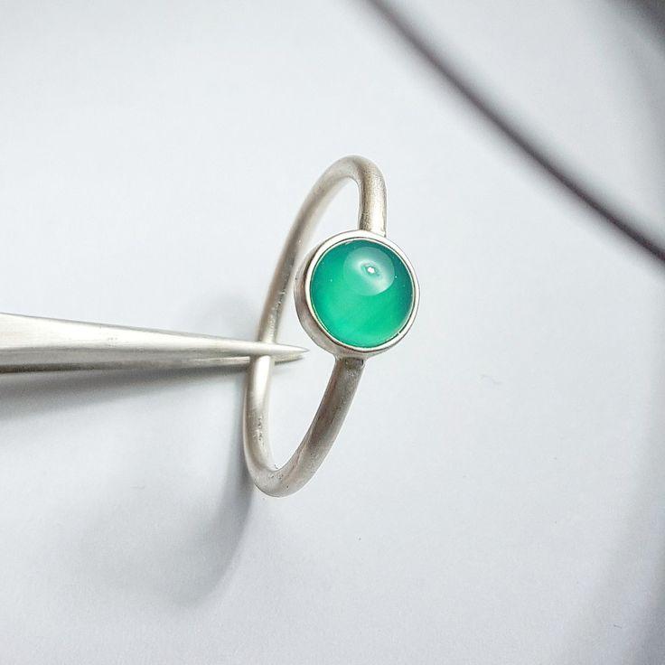 Chrysoprase Ring Gemstone Ring Stacking Chrysoprase Ring Green Chrysoprase Ring Chrysoprase Silver Ring by INNOCENTIJEWELRY on Etsy