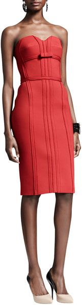 Lanvin Strapless Bustier Dress with Bow Rouge in Red | Lyst