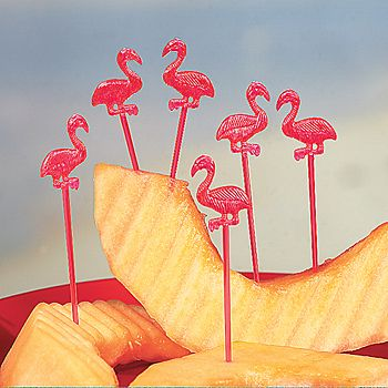Plastic Flamingo Picks (72) :  These bright pink flamingo-shaped plastic picks can add a great touch to fruit slices, cheese or even cupcakes!