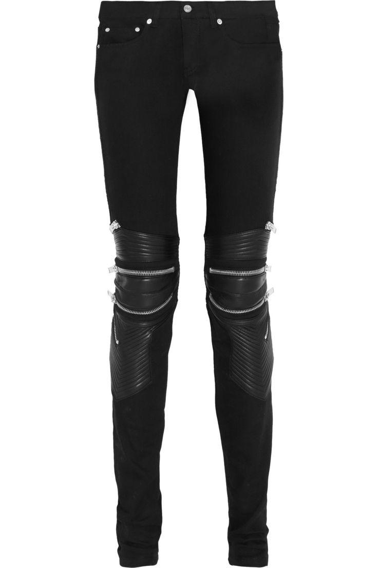 Saint Laurent|Leather-paneled skinny jeans