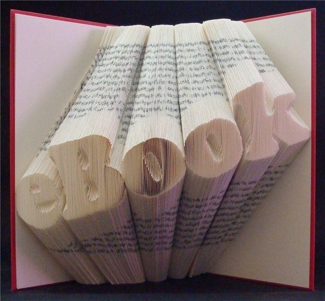 Orimoto® Schriftzug (book-origami) von Orimoto®  gefaltete Bücher auf DaWanda.com