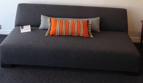 Hand loomed vintage Swedish table runner turned lumbar pillow