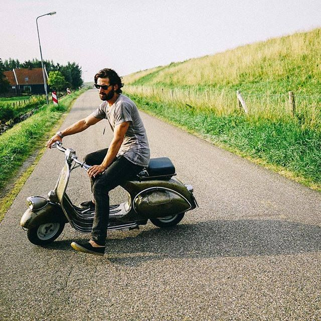 Taking my 60 year old Vespa for a spin after it's been completely restored (and stripped of paint!) by my friend Jan Schrijver.. What a ride! #1955 Michiel Huisman