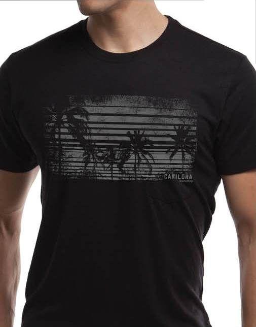 Cariloha men's graphic tee - Palms Horizon - featured on bamboo crew tee in black.