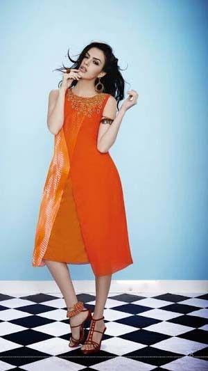 #Orange Georgette Printed #Casual #Kurtis #Online #DesignerKurtis #OnlineShopping at @moksha