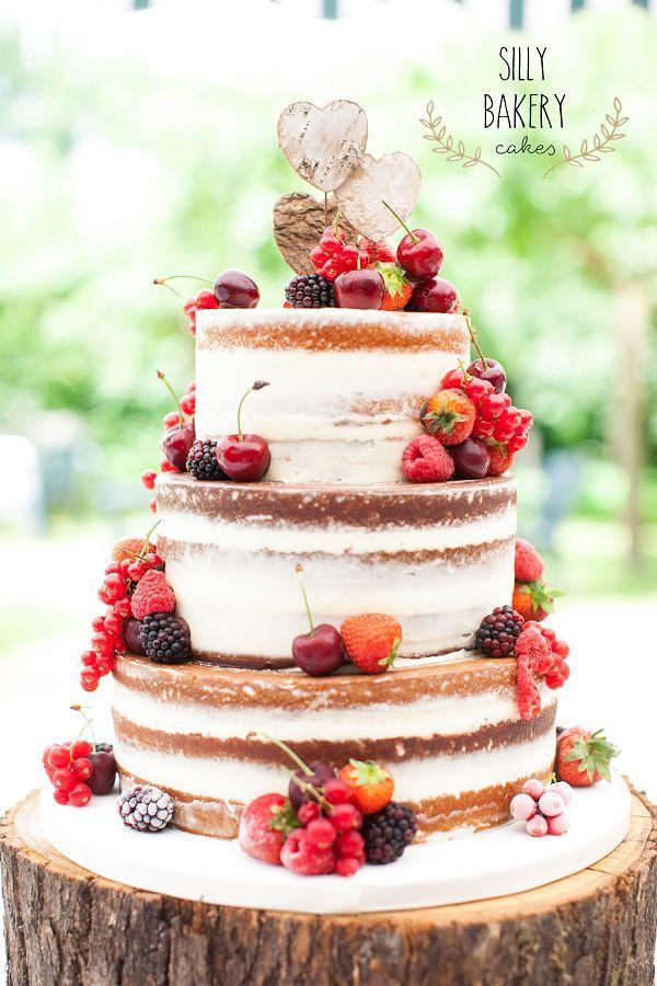 fall naked wedding cake with fruits