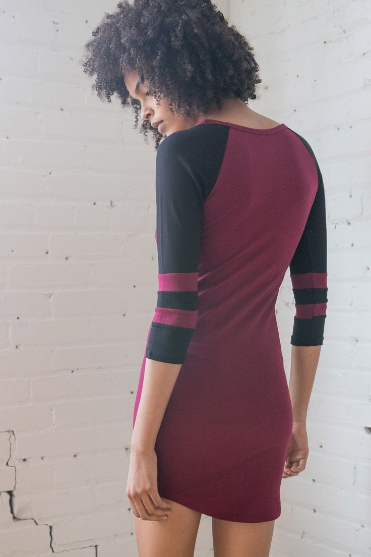 Wine Cross Neck Baseball Dress - Ragstock