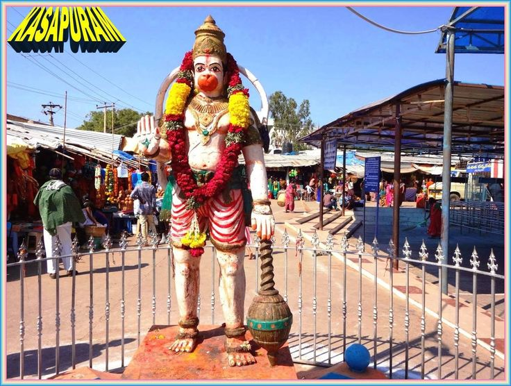 Big statue of Lord Anjaneya Hanuman Swamy is located at the entrance of Sri Nettikanti Anjaneya Swamy Temple; Kasapuram village belongs to Guntakal revenue mandal under Anantapur district in the Indian state of Andhra Pradesh. Kasapuram is situated around 87 kms towards north from district head quarters Anantapur and just 5 kms from Guntakal Railway Junction. Lots of buses, autos and taxis are available from Guntakal to go for Kasapuram.