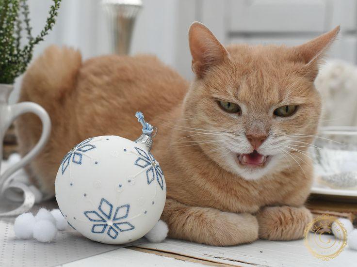Vánoční koule bílá s modrým dekorem  Bílá vánoční skleněná koule s dekorem modrých vloček. Velikost 8 cm.  Číslo artiklu: 2059  http://www.glassor.cz/vanocni-koule-bila-s-modrym-dekorem — at Glassor.
