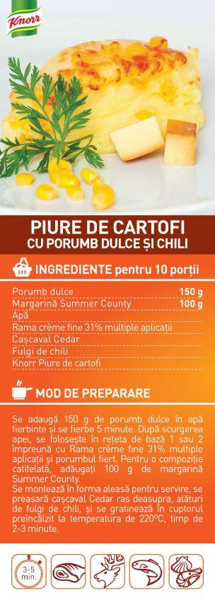 Piure de cartofi cu porumb dulce si chili - RETETA