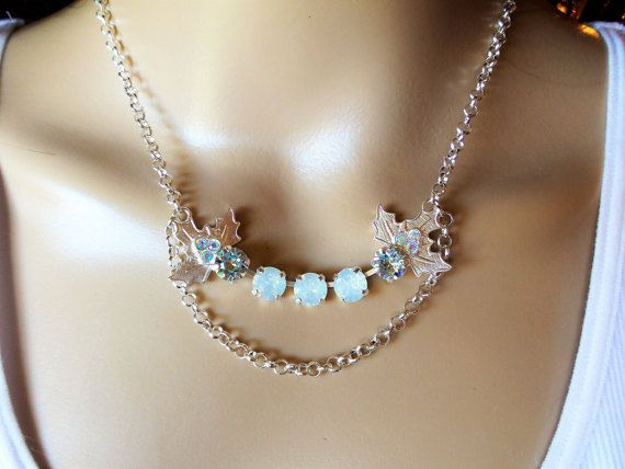 White Christmas,Swarovski Necklace, Holiday Jewelry,,White Opal, Blue Azure,Chain, Adjustable,Bridal, holly,Matte Silver,DKSJewelrydesigns