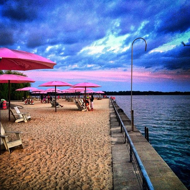 Toronto's Sugar beach at sunset. I live the pink shade.