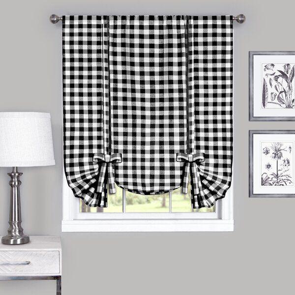 Haylee Tie Up Plaid Sheer Window Scarf Tie Up Shades Tie Up Curtains Kitchen Window Curtains