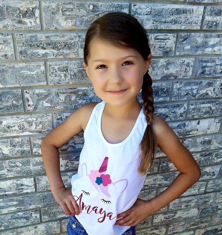 Unicorn Shirt - Unicorn Emoji Shirt - Lace Back Tank Top - Girls Birthday Shirt - Custom Name Shirt - Cute Girls Clothes by FourSierra on Etsy