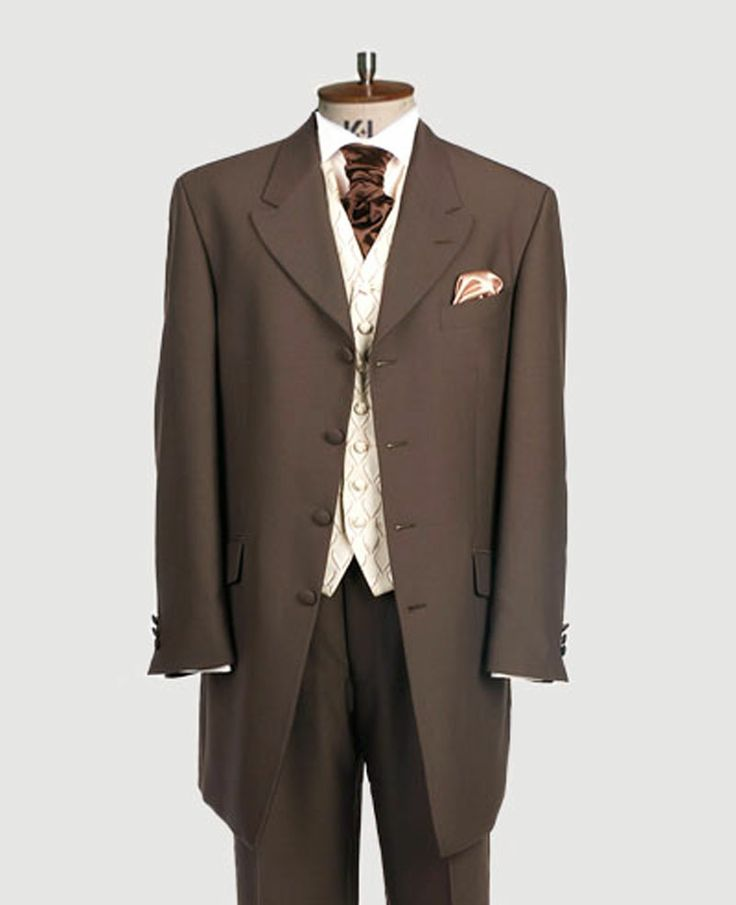 Suit hire direct - Brown Prince Edward jacket also available in black, grey, mid grey and navy. Traditional Prince Edward jacket, matching trousers, waistcoat, any neckwear and handkerchief £95