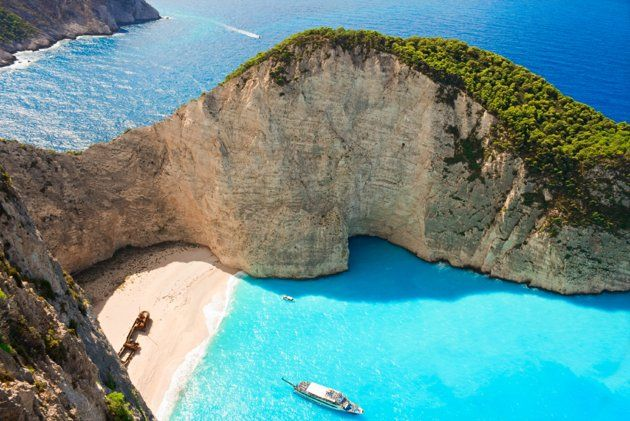 Smuggler's Cove, Zakynthos, Greece The unspoiled Navagio Beach has white sand and