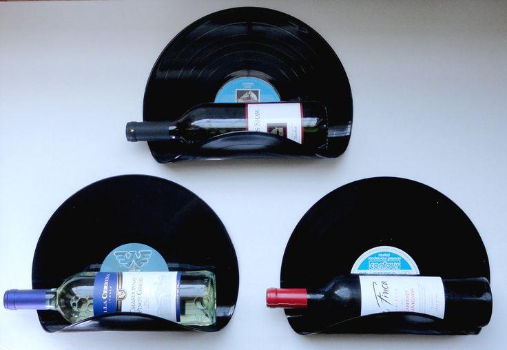 Upcycled Vinyl Record Wine Rack Wall Organizer  Set by MovieVinyl, $16.99