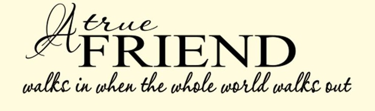 A true friend walks in when the world walks out.     Vinyl decals available at kimberlesudesigns.blogspot.com: Vinyls Decals, Friends Walks, True Friends, Walk In, Walks In, Vinyl Decals