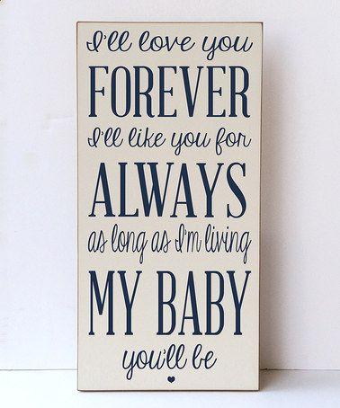 Look at this #zulilyfind! Cream & Navy 'Love You For Always' Wall Sign #zulilyfinds