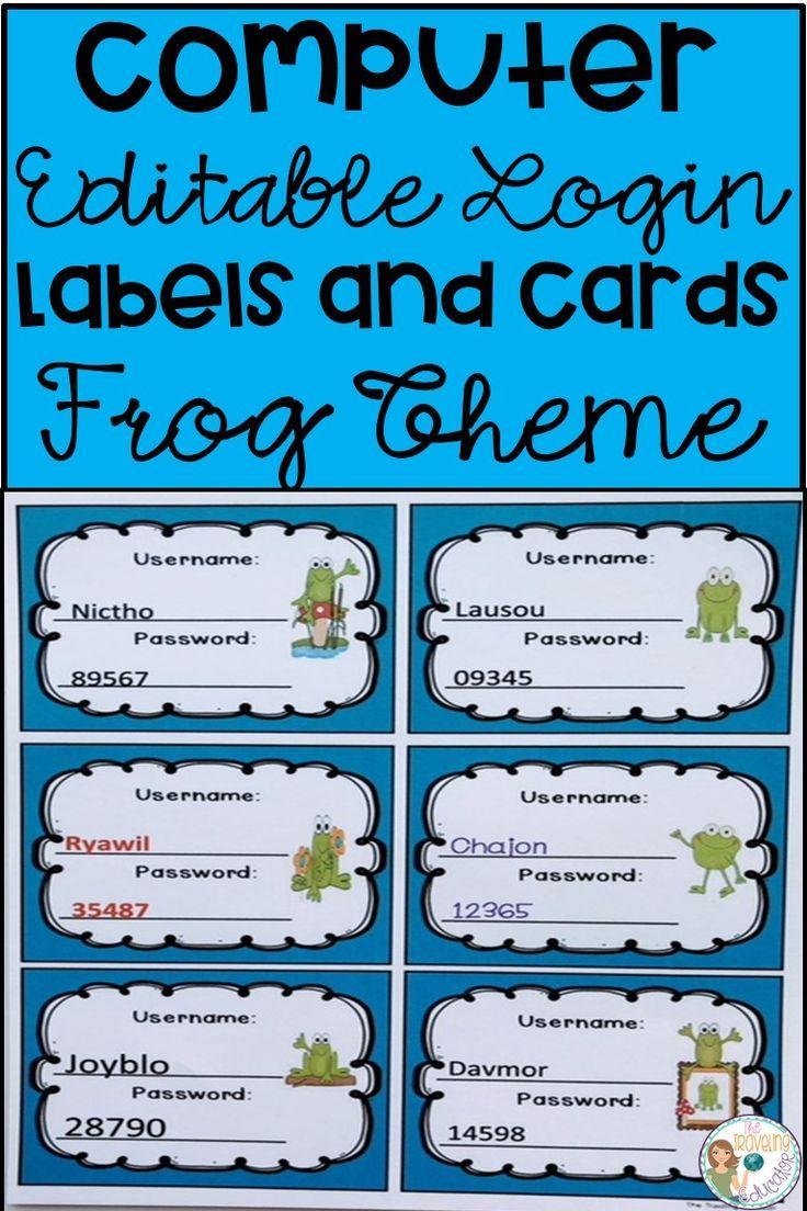 Computer Login Labels And Cards Frog Theme Elementary