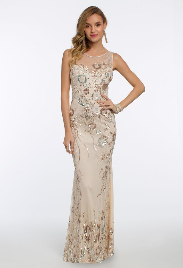 Delicate florals will go a long way at your next formal function  keep  things classy and opt for an evening gown with an illusion neckline and beaded  back 39ade6f26